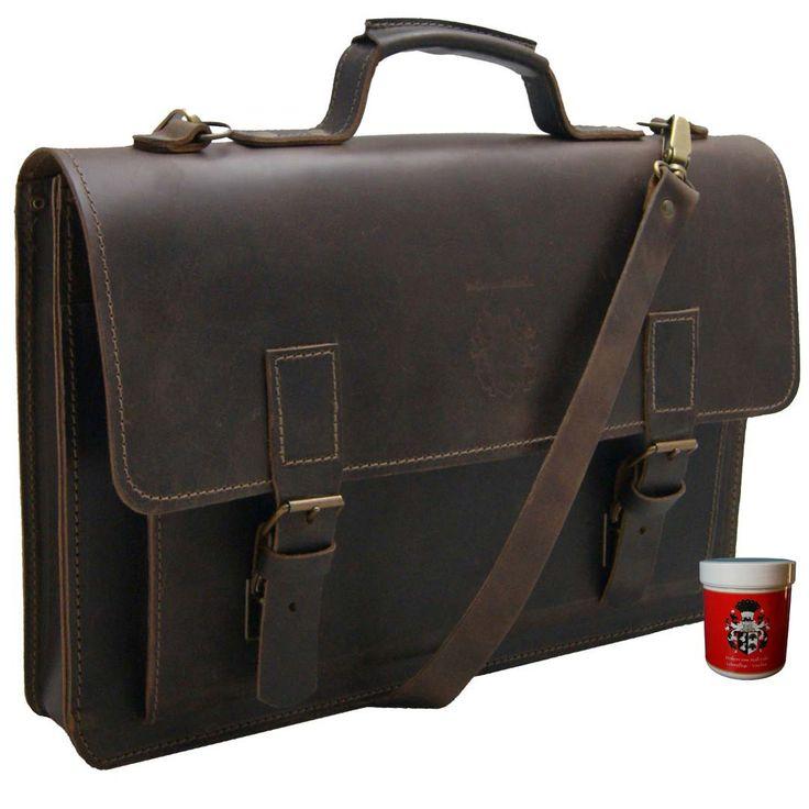 Die #17.3 Zoll #Notebooktasche PYTHAGORAS aus #Bio-Leder bringt Ihr Laptop oder großes Tablet stilvoll unter.