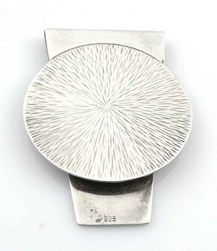 Vintage 1960s 70s Germany Handmade Modernist Textured Design Sterling MONEY CLIP