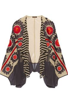 Vineet Bahl Embroidered printed chiffon jacket