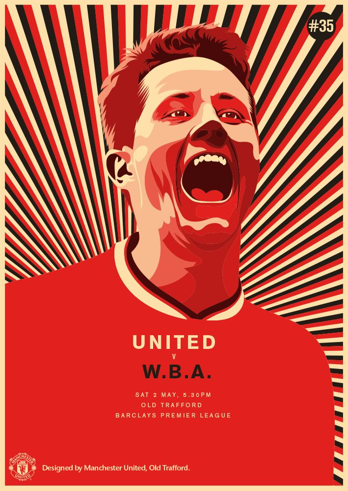 Match poster: Manchester United vs West Bromwich Albion, 2 May 2015. Designed by @manutd.