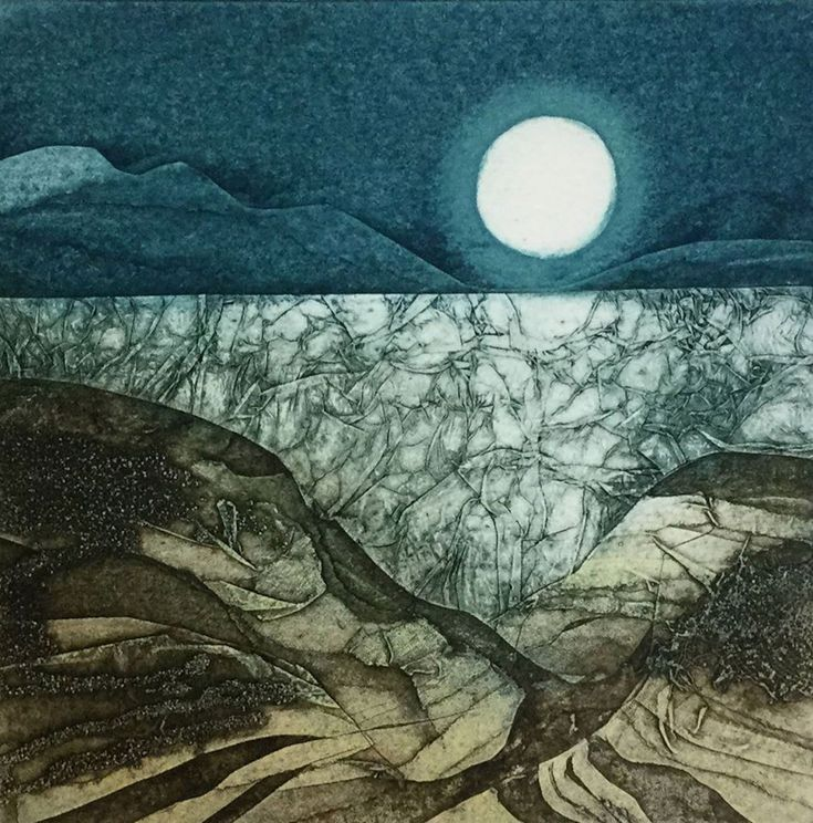 The Shattered Sea by Sarah Ross-Thompson Collagraph Printmaking