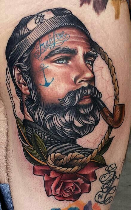_ sailor portrait tattoo _ I like the shading and hair texture