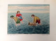 BELA SZIKLAY Original ETCHING Hand Colored CHILDREN COLLECTING WATER Watercolor