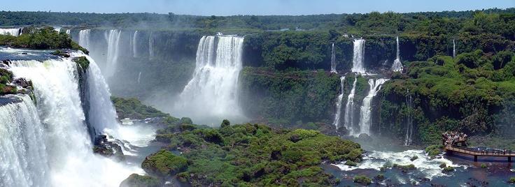The Iguazu Falls in Brazil and Argentina