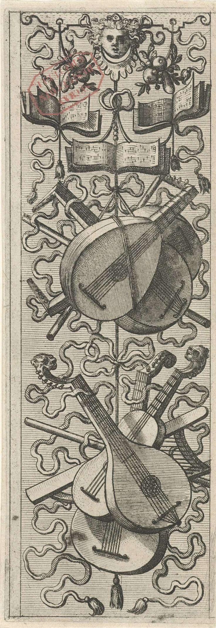 Johannes of Lucas van Doetechum | Muziekinstrumenten, Johannes of Lucas van Doetechum, Hans Vredeman de Vries, Gerard de Jode, 1572 | Drie muziekboeken en snaarinstrumenten. Uit serie, bestaande uit een titelblad en 16 bladen.