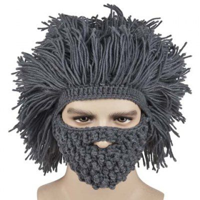 Stylish Beard and Afro Hair Shape Design Knitted Hat For Men