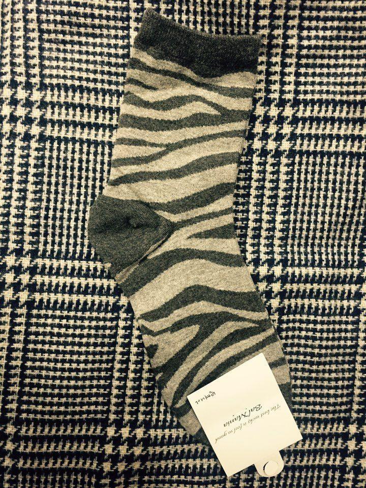 New unisex men women Gray Zebra pattern socks