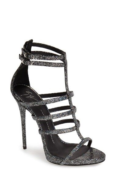 Free shipping and returns on Giuseppe Zanotti Metallic Strappy Sandal (Women) at Nordstrom.com. A rainbow of colors shifts and shimmers across this sultry stiletto from Giuseppe Zanotti. Dual ankle straps secured by delicate oval buckles top this scintillating sandal finished with a crackle-texture print and wrapped platform and heel.