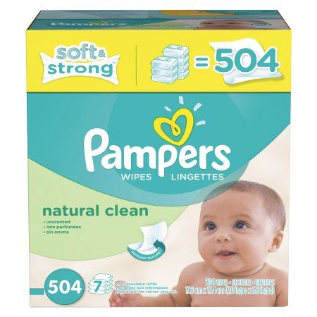 Pampers Natural Clean Baby Wipes Refills, 504 sheets, White