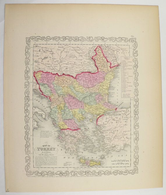 Original 1858 Antique Map Turkey in Europe Map 1858 Mitchell Map, Greece Balkan Peninsula Map, European Decor Art Map, Vintage Travel Gift available from OldMapsandPrints on Etsy