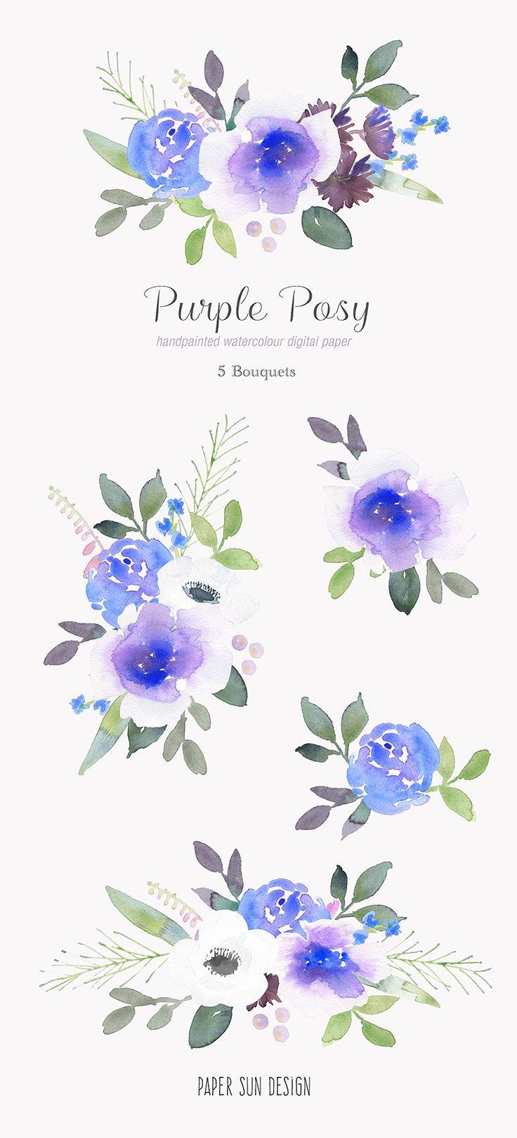 Watercolor Clipart Purple Floral Clipart Purple Watercolor