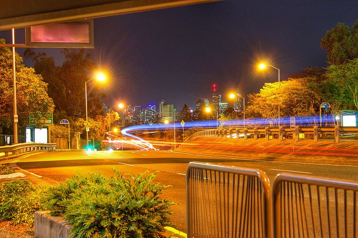 Experimenting with shutter speed on night traffic- 1st try © Aaron Watson