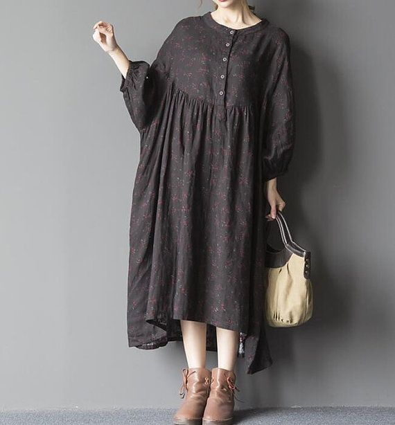 Black oversized loose long dress blue large size dresses by MaLieb