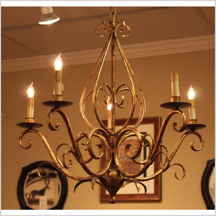 "Foyer 24"" Antique Gold Finish Chandelier - 14th Street Antiques Market 