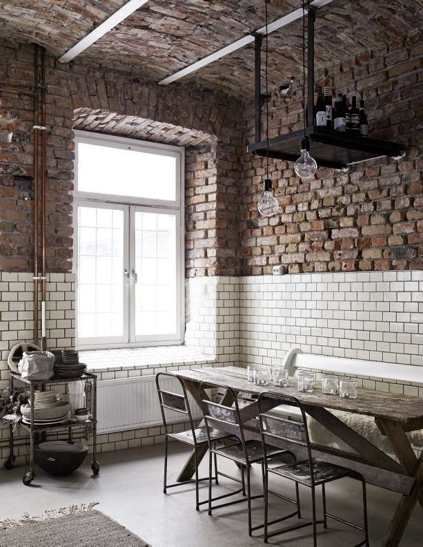 Exposed brick. Subway tiles. #cafe style