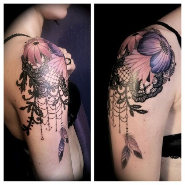 Lace shoulder tattoo with flowers. I like this, would be a cute start to a sleve.
