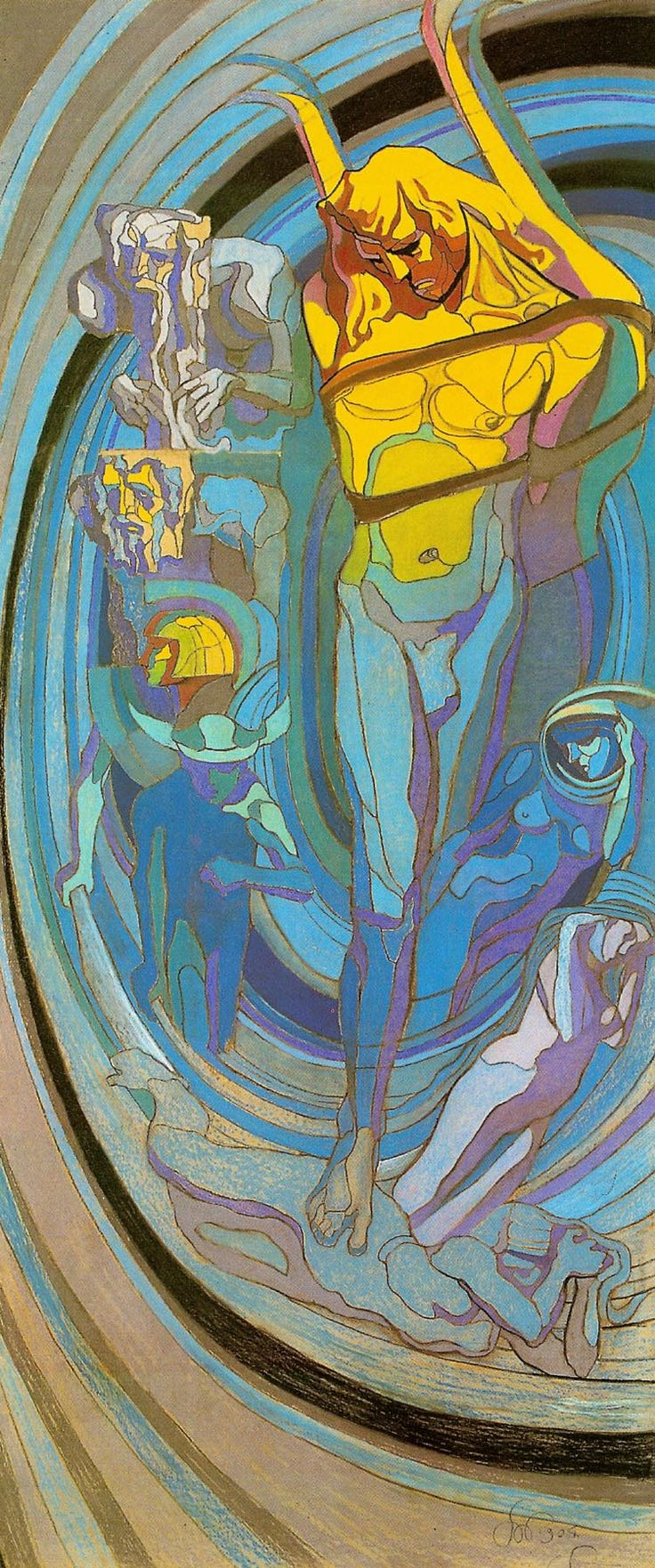 """Apollo"" (1904) by  Stanisław Wyspiański (1869-1907), stained glass design, pastel, 343 x 146 cm, National Museum, Cracow"