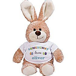 "Personalized Somebunny Loves Me Plush 24"" Easter Bunny with Blue Shirt Design"