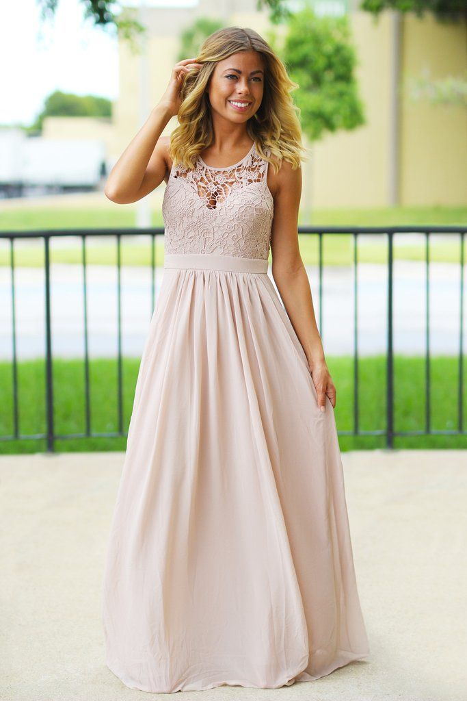 Bridesmaids Alert!!! Super elegant and cute Tan Crochet Maxi Dress with Open Back! Perfect for any special occasion! We love its beautiful flowy skirt and open back! - 100% polyester - Approx. Length