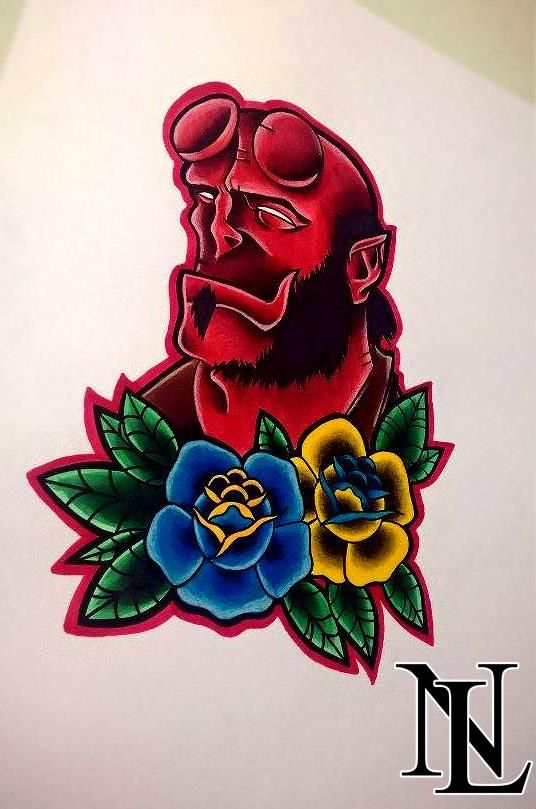 #hellboy #marvel #scary #animal #red #man #muscle #rose #roses #tattoo #tattoos #ink #inked #tatted #oldschool #newschool #traditional #art #illustration #leicester #leciestershire #nottingham #uptowntattoos #uptwntattoostudio #artists #pretty #simple #detail #cartoon www.facebook.com/naomilistertattoos