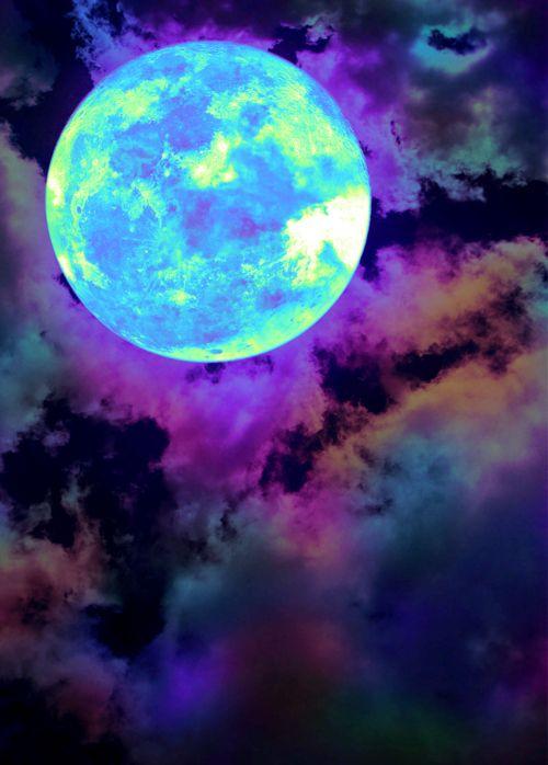 moon glow rainbow clouds
