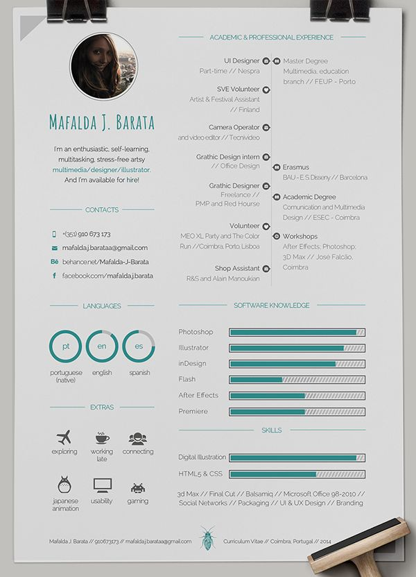 57 best CVs images on Pinterest Resume ideas, Design resume and