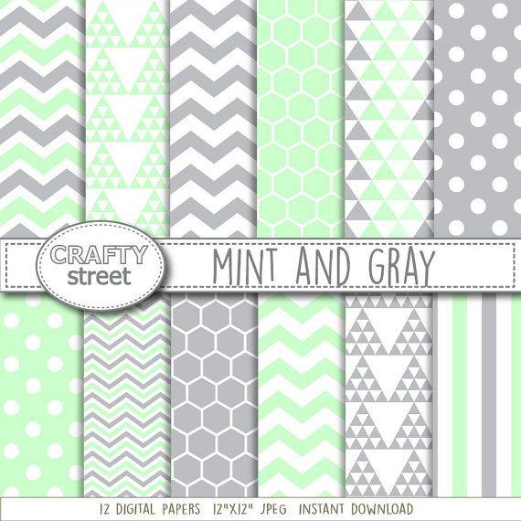 Minze und grau digital digitalem Papier Minze grau von CraftyStreet
