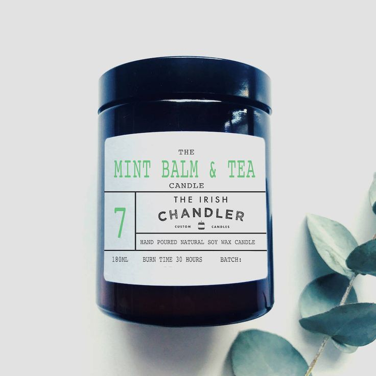 Mint Balm and Tea Scented Soy Wax Vegan Candle by TheIrishChandler on Etsy