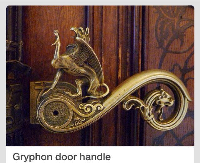 Mythical Griffin Door Handle Which Leads To The Bathroom At A Military  Museum.