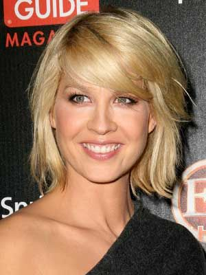 Jenna Elfman- Love the buttery blond color and swept over bangs.