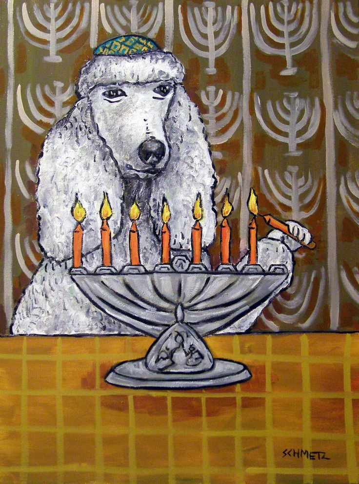 Poodle Hanuka h Menorah Dog signed art Print. Print is a giclee meaning computer generated print Made with the Finest archival Heavyweight Matte Paper and Inks.
