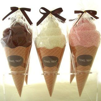 Ice Cream Cone Towel Treat. Great idea for gift baskets - super-soft cotton washcloth has been artfully wrapped to resemble an ice-cream cone