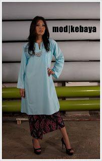 Baju Kurung : Blue and white polka dot Mod kurung pesak gantung mega mendung batik | modkebaya