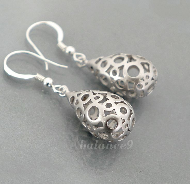 Silver drop earrings, Filigree bubble dangle, sterling silver ear wire, delicate everyday jewelry, birdesmaid gift, wedding, by balance9 by balance9 on Etsy https://www.etsy.com/listing/86665982/silver-drop-earrings-filigree-bubble
