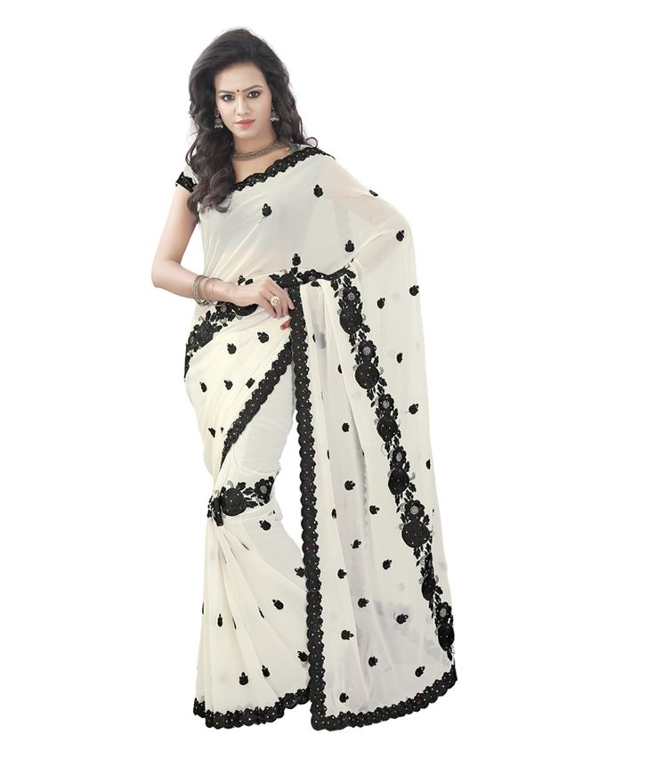 Loved it: Sareeska Sarees White Faux Georgette Saree, http://www.snapdeal.com/product/sareeka-white-faux-georgette-embroidered/498072700