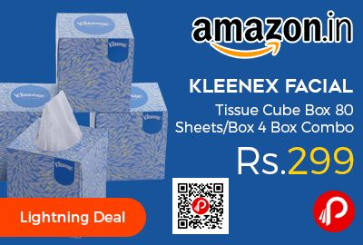 Amazon #LightningDeal is offering 32% off on Kleenex Facial Tissue Cube Box 80 Sheets/Box 4 Box Combo at Rs.299 Only. Premium facial tissues, provide valued enhancement, projecting an ambience of comfort and care.  http://www.paisebachaoindia.com/kleenex-facial-tissue-cube-box-80-sheetsbox-4-box-combo-at-rs-299-only-amazon/