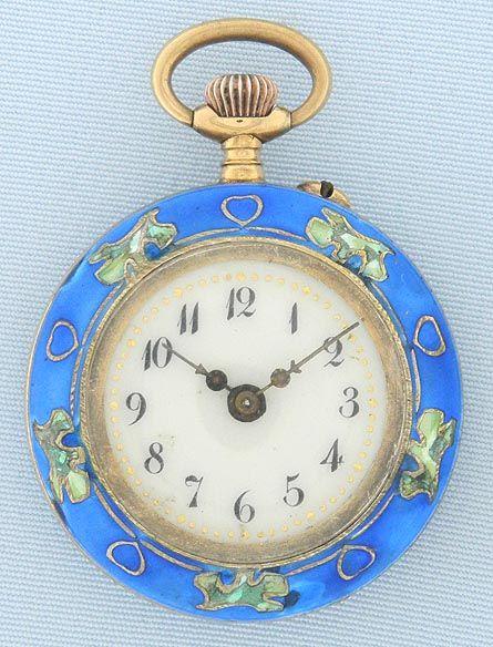 Bogoff Antique Pocket Watches Art Nouveau Enamel Watch and Pin - Bogoff Antique Pocket Watch # 6706