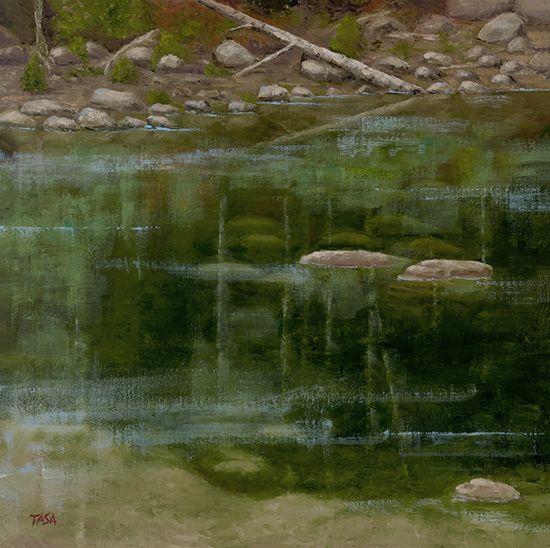 Shallow Pond - Dennis Tasa - Oil on linen - 18 x 18 - www.dennistasa.com