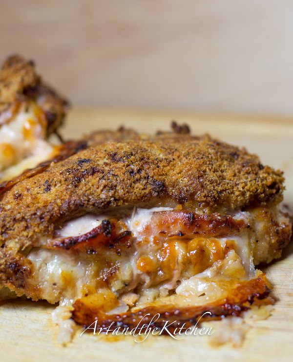 Pork Chops Cordon Bleu - fantastic tasting pork chops with centre of Canadian back bacon and Gruyere cheese coated for a crisp outside of panko bread crumbs.