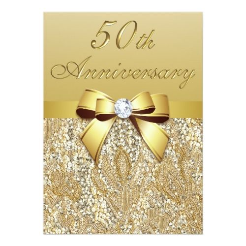 Gold Glitter Wedding Invitations 50th Gold Wedding Anniversary Faux Sequins and Bow Card