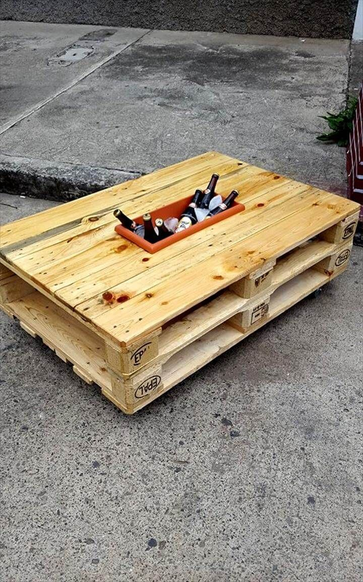 Pallet Coffee Table With Ice Box Met