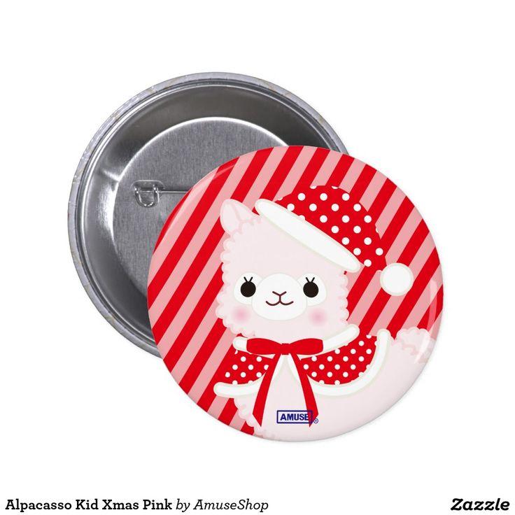 Alpacasso Kid Xmas Pink 2 Inch Round Button
