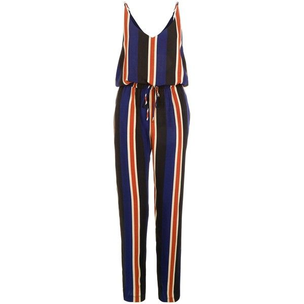 Mela Blue Stripe Jumpsuit ❤ liked on Polyvore featuring jumpsuits, blue jump suit, striped jumpsuit, mela loves london, jump suit and blue jumpsuit