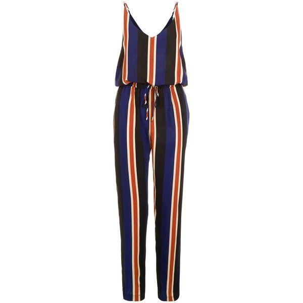 Mela Blue Stripe Jumpsuit ❤ liked on Polyvore featuring jumpsuits, blue jump suit, striped jumpsuit, mela loves london, jump suit and blue jumpsuit