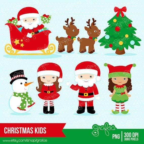 CHRISTMAS KIDS Digital Clipart,  Christmas Clipart, Santa Claus Clipart,  Elves, Elf Clipart  / Instant Download