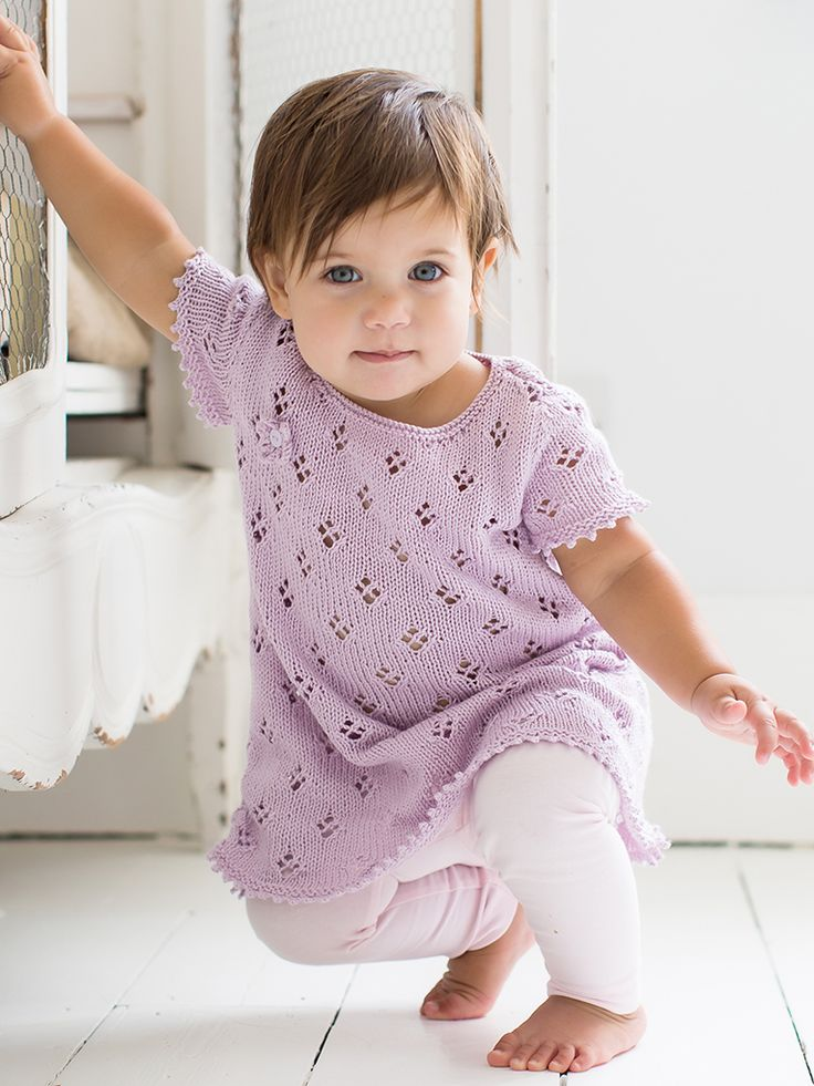 Imogen - Knit this pretty girls tunic from Little Rowan Cherish. Designed by Linda Whaley in Summerlite 4ply it has short sleeves and a simple all over lace pattern making it suitable for the knitter with some experience.