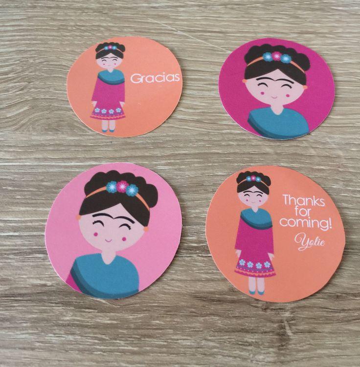 Frida Kahlo birthday party, Frida Kahlo stickers, personalized for any Frida birthday theme party!