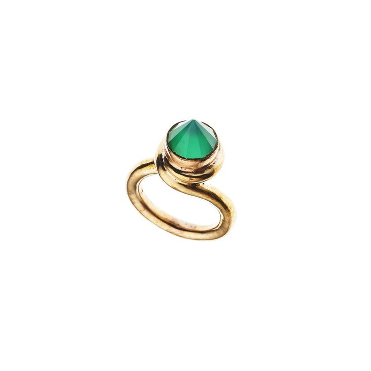 PUSHMATAaHA/ Knot Ring/ Gold with Green Onyx