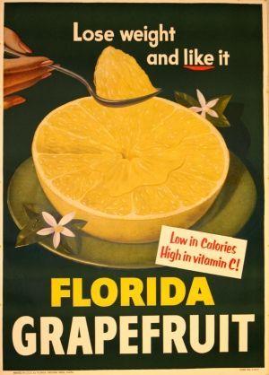 Florida Grapefruit, 1950s - original vintage poster listed on AntikBar.co.uk