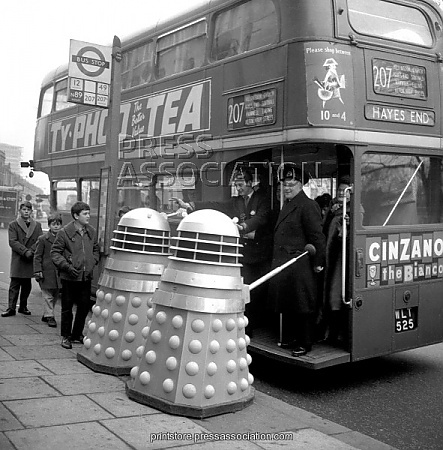 """""""Two to Hanwell please."""" Daleks catch a 207 at Shepherd's Bush Green."""